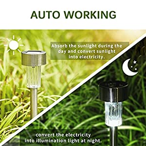 KODOO 12Pack Solar Lights Outdoor, Outdoor Garden Lights, Solar Pathway Lights, Outdoor Landscape Lighting for Lawn/Patio/Yard/Walkway/Driveway (Stainless Steel)