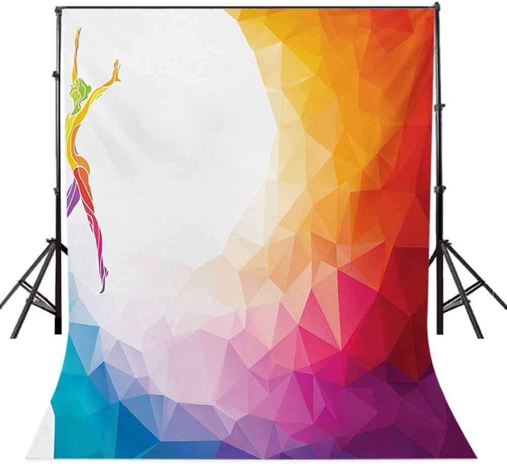 Gymnastics Girl Gymnast Portrait Colored Geometric Digital Shapes Modern Olympics Background for Party Home Decor Outdoorsy Theme Vinyl Shoot Props Multicolor Sports 10x15 FT Photography Backdrop