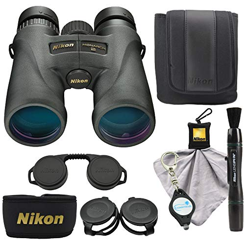 Nikon Monarch 5 10x42 Binoculars (7577) Waterproof/Fogproof Bundle with Nikon Lens Pen, Cleaning Cloth and Lumintrail Keychain Light