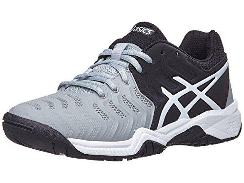 ASICS Kids' Gel-Resolution 7 GS Tennis Shoe, Mid Grey/Black/White (2 US)