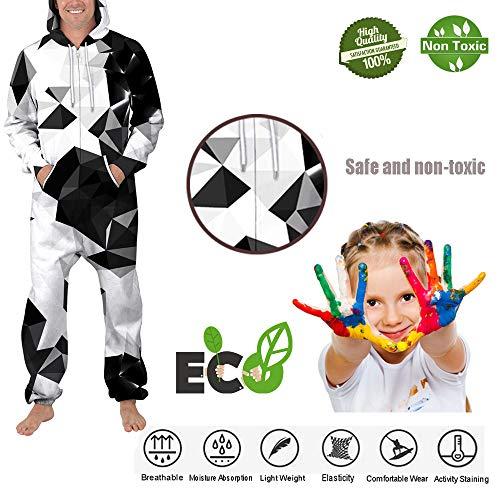 Capuche Zip Noire Sweat Longues Sweatshirt Pièce Homme Manche Pyjama Blanche De Peinture Costume 3d Morbuy Une À Unisexe Vêtement Onesie Imprimé Adult Nuit Family Jumpsuit qS6xPxtXnw