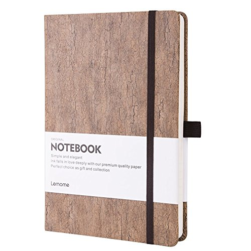 Thick Classic Writing Notebook/Journal - Eco-Friendly Natural Cork Hardcover Executive Large Lined Paper Notebook with Pen Loop + Premium Thick Paper, A5 5x8 Bound Notebook