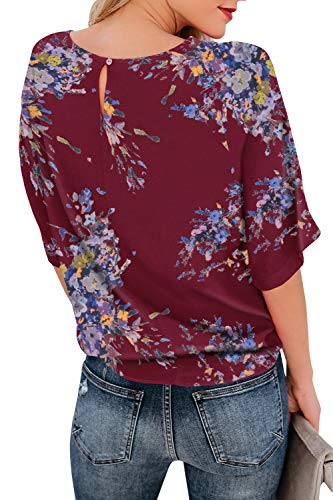 Niitawm Womens Blouses Chiffon Knot Tie Front Shirts and Blouses Loose Fit Half Sleeve Casual T-Shirt Tops (Y-Wine Red, Medium) (Chiffon Tie)