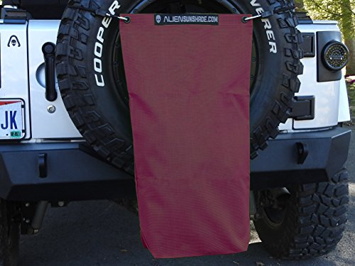 "ALIEN SUNSHADE Jeep Wrangler Mesh RubiSack Exterior Storage Bag for Trash or Trail Gear with 10 Year Warranty – Includes 48"" Carabiner Bungee (10 Years Dry Wine)"
