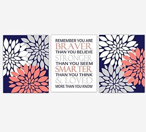Coral Navy Blue Flower Dahlia Mums Remember You Are Braver Baby Girl Nursery Decor Bedroom Prints 3 UNFRAMED PRINTS (Navy Decor Coral And)