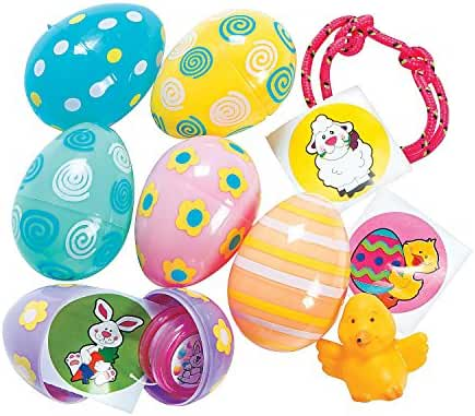 Pastel Toy-Filled Patterned Eggs (24 Pack) - Easter & Party Favors
