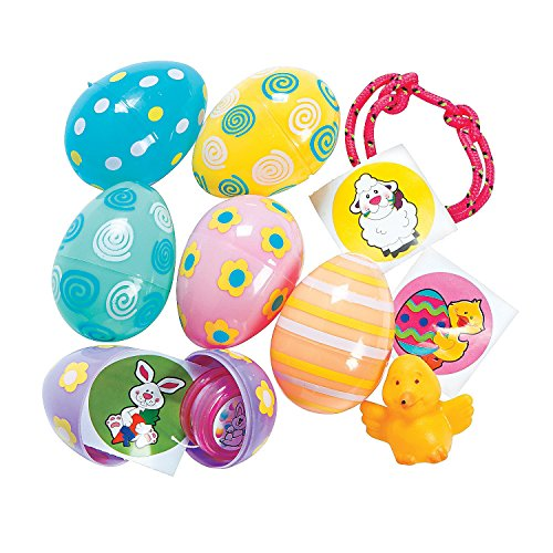 Pastel Toy-Filled Patterned Eggs (24 Pack) - Easter & Party (Filled Pastel Eggs)