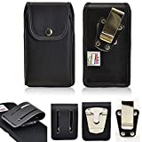 Turtleback Genuine Leather Rugged Heavy Duty Duty Vertical Case with Snap Closure for Samsung Galaxy S10 Plus with an Otterbox Defender case on it. Comes with 2 Size Belt Clips.