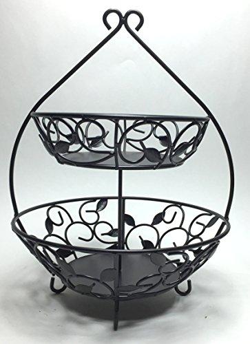 (Circleware 00731 Black Metal 2 Tier Fruit Bowl with Leaf Design w/ 12