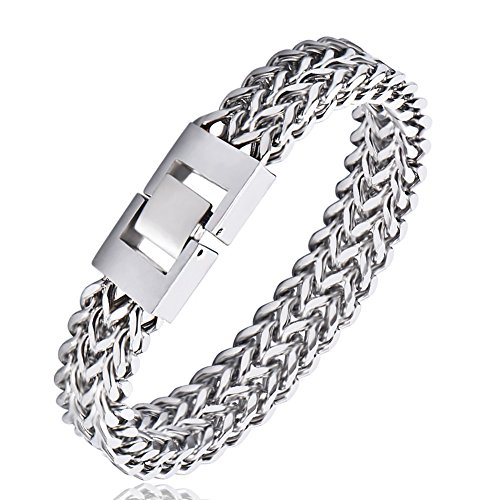 Plated Unisex Bracelets - WIBERN Stainless Steel Silver-Tone Double Rows Chain Clasp Waterproof Never Fade Princess Charm Link Friendship Bracelet for Men (20CM-Silver Plated)