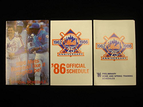 New York Mets Baseball Schedule - Lot of 3 Different 1986 New York Mets Baseball Schedules