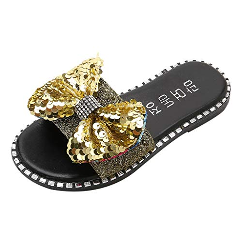 - Tantisy ♣↭♣ Baby Girls Fashion Sequins Bow Round Toe Flat Heel Sandals Slipper Beach Shoes Gold