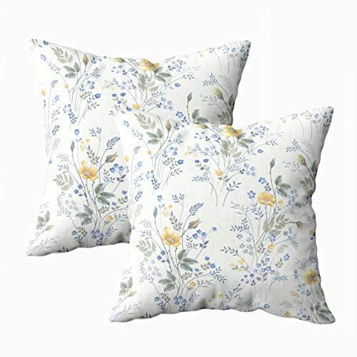 (ROOLAYS Decorative Throw Square Pillow Case Cover 18X18Inch,Cotton Cushion Covers floral pattern roses on white Both Sides Printing Invisible Zipper Home Sofa Decor Sets 2 PCS Pillowcase)