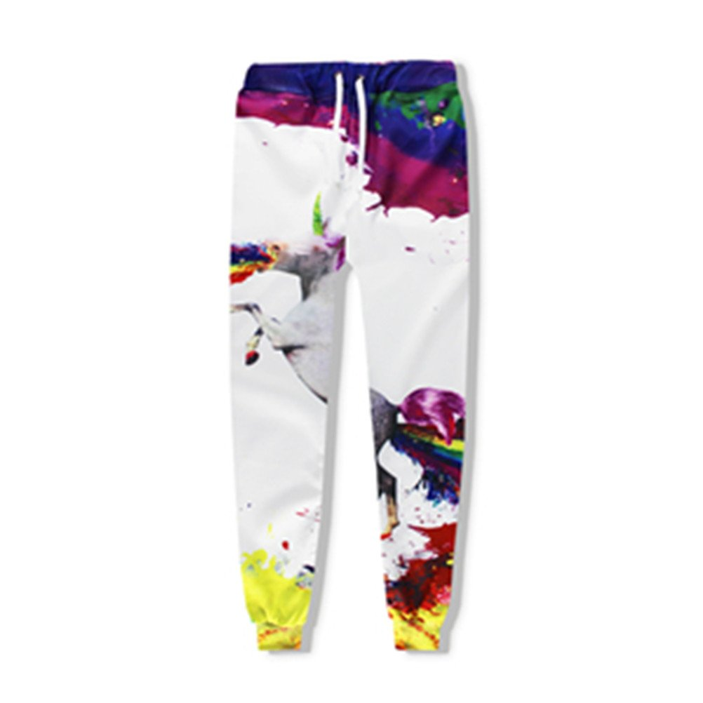 Joggers Pants Unisex 3D Print Rainbow Unicorn Hip Hop Style Sweatpants Plus Size Urpants