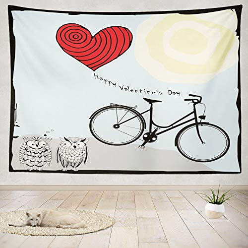 ONELZ Decor Collection, Happy Valentine Day with Bicycle Heart Shaped Balloon and Owls Art Bedroom Living Room Dorm Wall Hanging Tapestry 60