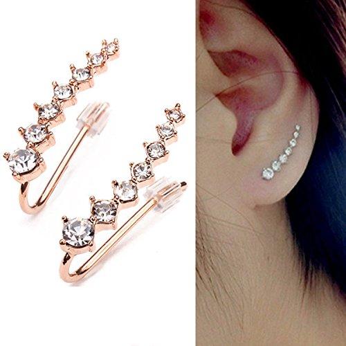 Italina Rhinestone Crystal Ear Cuff Earrings 18K Rose Gold ()