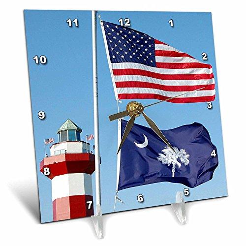 3dRose dc_94267_1 Harbor Town Lighthouse, Hilton Head, South Carolinla US41 LSE0025 Lynn Seldon Desk Clock, 6 by 6-Inch