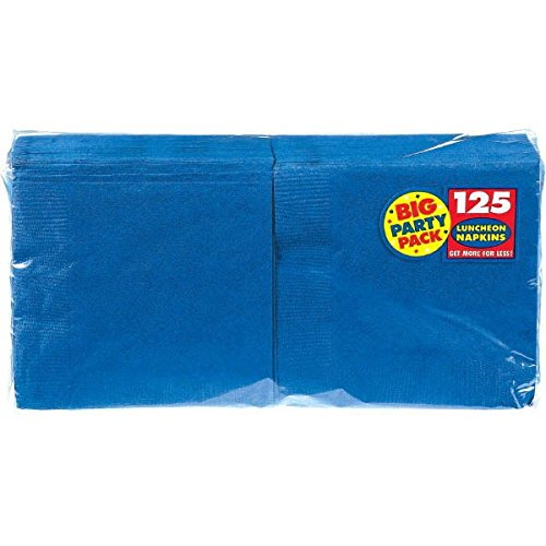 Amscan Bright Royal Blue Luncheon Napkins Big Party Pack 125 Ct