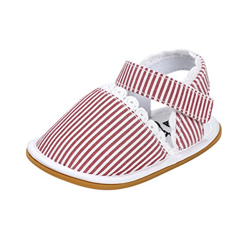 Itaar bebé niñas sandalias primavera verano zapatos antideslizante suela de goma suave para bebés niños primera caminantes Floral Talla:12-18 meses Red Stripe