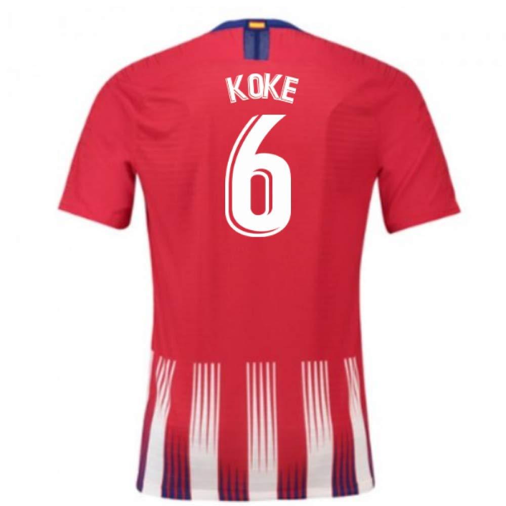 2018-2019 Atletico Madrid Authentic Vapor Match Home Nike Football Soccer T-Shirt Trikot (Koke 6)