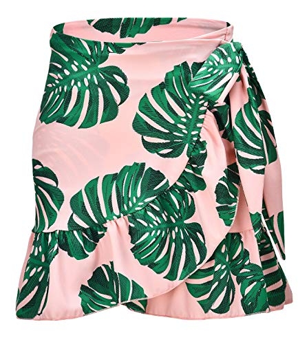 (ChinFun Women's Active Skirts Swimsuit Bathing Suit Cover-ups Sarongs Wrap Beachwear Athletic Cover up Peachy Pink Pattern Leaf)