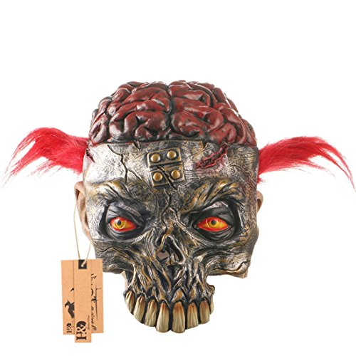 Hyaline&Dora Scary Halloween Masks Animal Skeleton With Bloody Brain and Cat Eyes,Horror Halloween Costume Party Props Latex Masks (red -