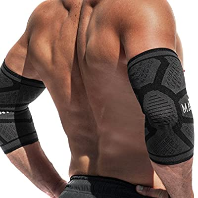 Mava Sports Knitted Elbow Sleeves Recovery Compression (Pair) – Support for Workouts, Weightlifting, Arthritis, Tendonitis, Tennis and Golfer's Elbow – Athletic Elbow Compression Sleeve