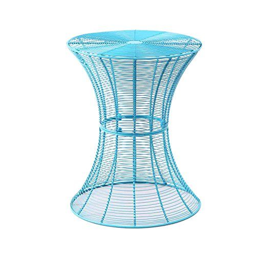Homebeez Round End table, Side tables, Iron Wire Weave Netting Multi Color (Blue)
