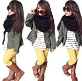 Clothes Set,BeautyVan Fashion Cartoon 1Set Kids Toddler Girls Warm Long Sleeve T-Shirt Tops+Coat+Pants Clothes Outfits (3T, Army Green)