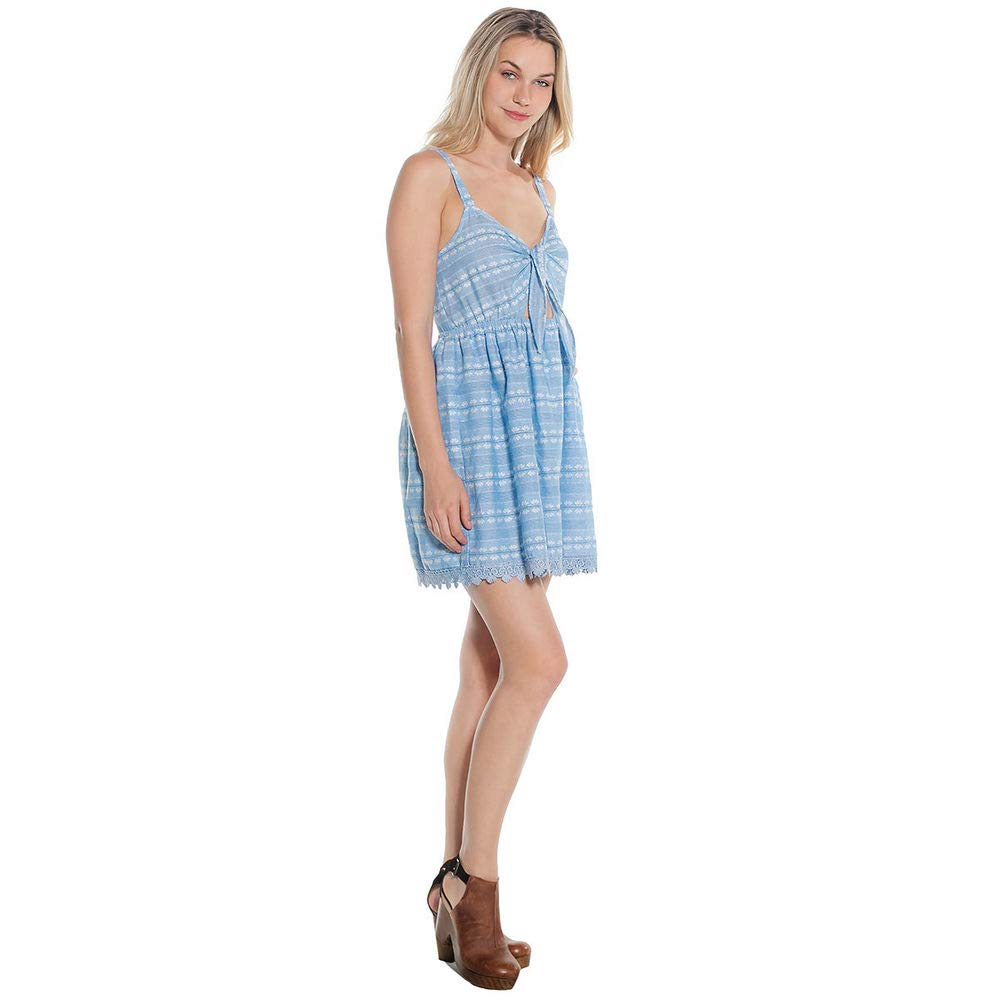 03c52948fb1e Amazon.com  Taylor   Sage Juniors  Scallop Trim Tie Front Dress Light  Chambray  Clothing