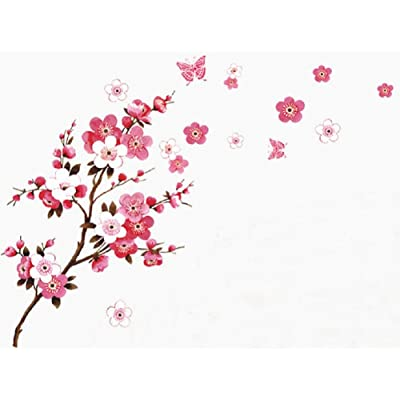 SWORNA Nature Series Branch Pink Flowers & Butterfly Removable Vinyl Mural Wall Art Decor Home Stickers Decals Bedroom/Hallway/Sitting/Living Room/Kids Nursery (29.5''H X 65''W, Brown & Pink,X-L): Home & Kitchen
