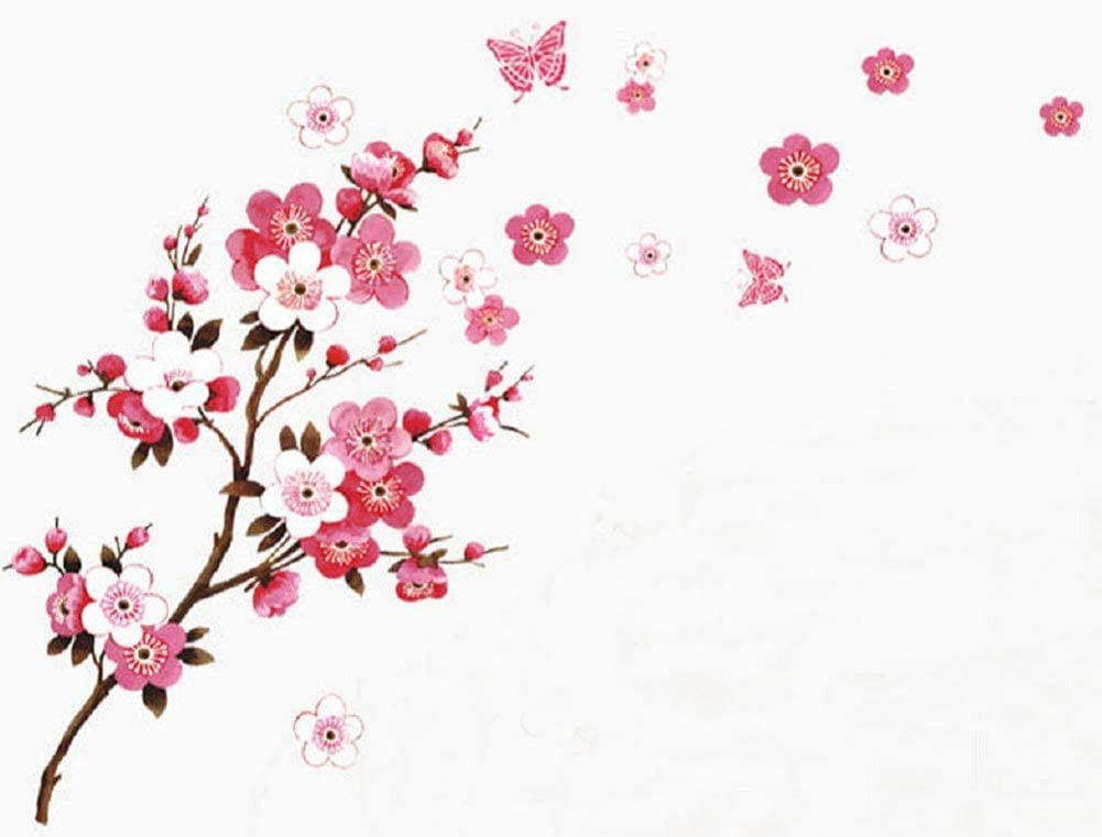 Branch With Flowers Wall Stickers Removable Vinyl Decal Home Wall