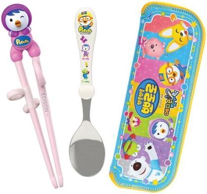 Pororo Edison Stainless Kid/'s Easy Chopsticks Spoon Case Set For Right Hand