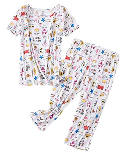 (Women's Short Sleeve Tops with Capri Pants Pajama Sets TZ001-White-XL)