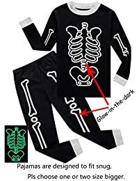Little Boys Halloween Skeleton Pumpkin Pajamas Sets Girls Pjs