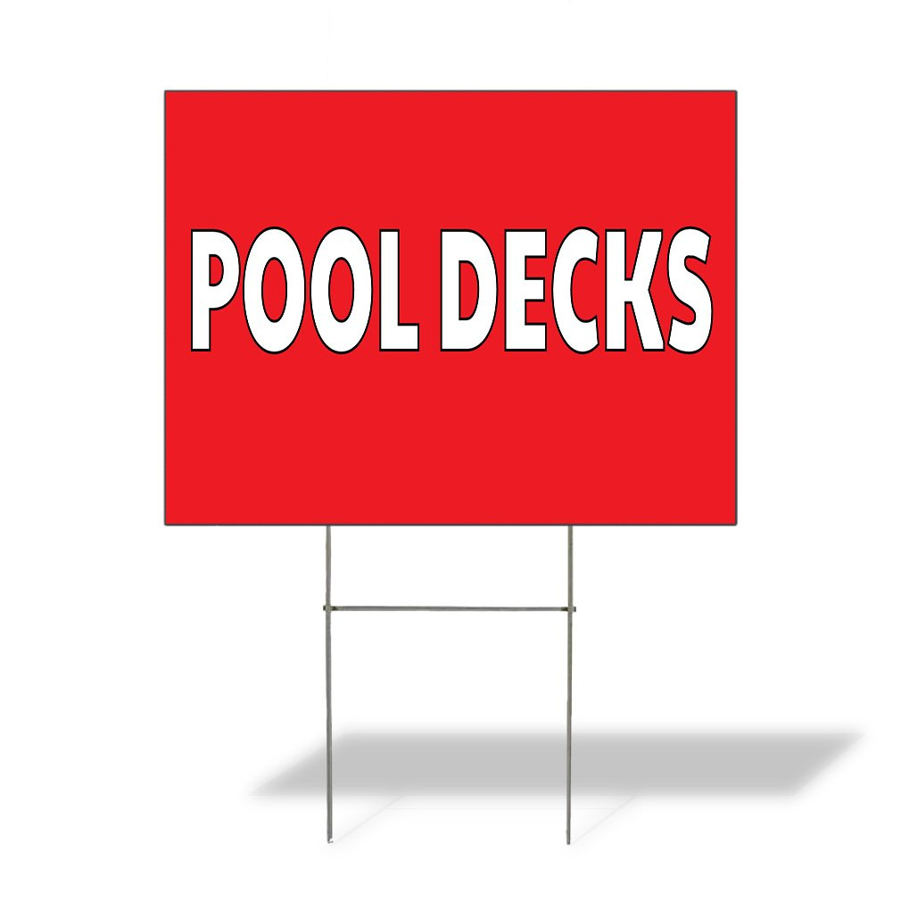 Plastic Weatherproof Yard Sign Pool Decks Pools Red Pool Decks for Sale Sign Multiple Quantities Available 18inx12in One Side Print Set of 5 by Sign Destination