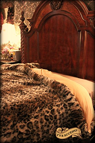 Plush Faux Fur King / Queen Size Bedspread / Throw Blanket / Luxury Leopard Stripe Faux Fur by Fur Accents