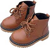 PPXID Boy's Girl's Fashion Waterproof Lace-up Side Zip Short Boots(Baby/Toddler/Little Kid)-Khaki 8 US Size