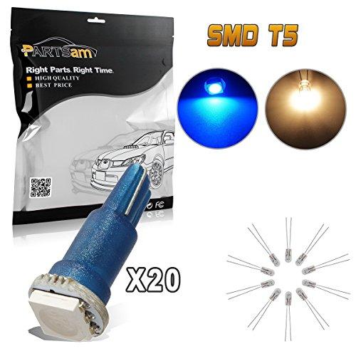 Partsam 20x Blue T5 1 SMD 5050 Dashboard Wedge Car LED Light Bulb Lamp 37 73 74 79
