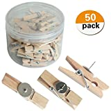 Push Pins with Natural Wooden Clips Pushpins Tacks Thumbtacks Creative Paper Clips with Pins for Cork Boards Artworks Notes Photos Wall and Craft Projects No Holes for The Paper (50 Park nature color)