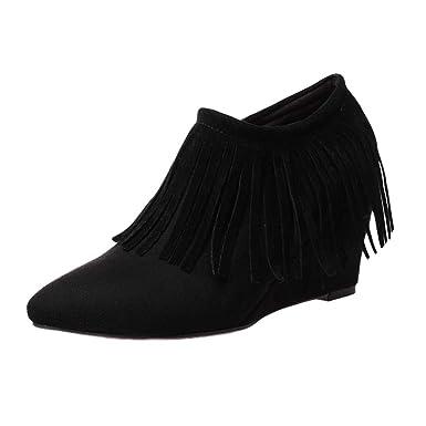 ❤ Botines Borla Mujer más Terciopelo, Zapatos de tacón de cuña de Mujer Botas Borla Botines de Cremallera Lateral Botas Cortas Zapatos Absolute: ...