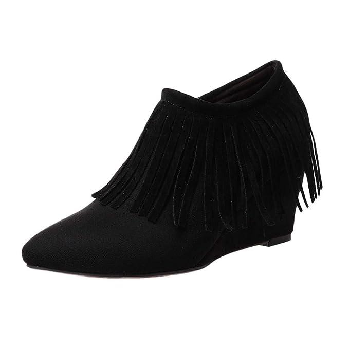 ❤ Botines Borla Mujer, Cuñas de Las Mujeres Zapatos de tacón Alto Botas Borla Botines de Cremallera Lateral Botas Cortas Zapatos Absolute: Amazon.es: ...