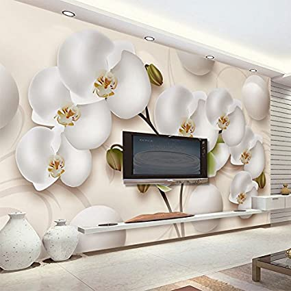 Sproud 3d Wallpaper Modern Hd Stereo Orchid White Flowers Photo Wall