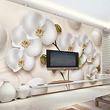 Sproud 3D Wallpaper Modern Hd Stereo Orchid White Flowers Photo Wall Murals  Living Room Tv Sofa