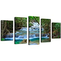 Bil-Yopin Modern Wall Art Stretched Canvas Printing Forest Waterfall 5 Panels