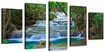Bil-Yopin Wall Art Stretched Canvas Printing Forest Waterfall 5 Panels