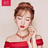 Generic The bride headdress Parure Red crown tiara tiara Japanese and Korean style toast dress accessories necklace earring hair