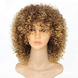 New Arrive Blonde Curly Wigs for Women's Fashion Hair Extensions Ombre Color Afro Kinky Curly Wig Hairstyle Look Same with Human Hair Wig Brown Ombre to Blonde Color Hair Wig