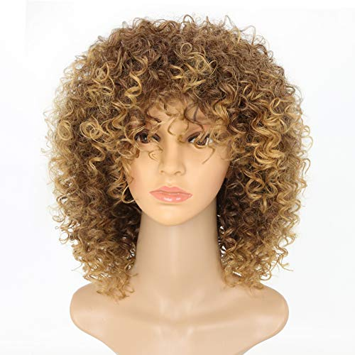 New Arrive Blonde Curly Wigs for Womens Fashion Hair Extensions Ombre Color Afro Kinky Curly Wig Hairstyle Look Same with Human Hair Wig Brown Ombre to Blonde Color Hair Wig