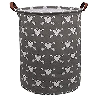 CLOCOR Collapsible Round Storage Bin/Large Storage Basket/Clothes Laundry Hamper/Toy Storage Bin (Heart Arrow)
